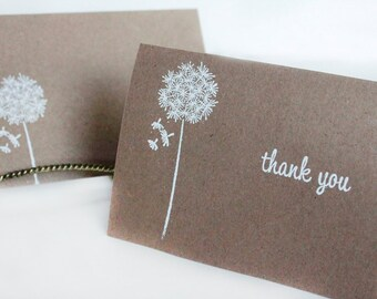 Rustic Thank You Cards, Kraft Thank You Card Set, Wishes Thank You Card, Wedding Thank You Cards- set of 5