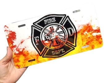 Firefighter License Plate, Volunteer fireman, front vanity plate, custom license plate, first responder plate, firefighter with flames plate