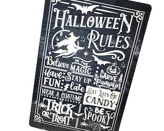 Halloween Rules Outdoor Metal Sign, fall Yard Signs, Indoor/outdoor metal signs, halloween decor, autumn decorations, spooky season decor
