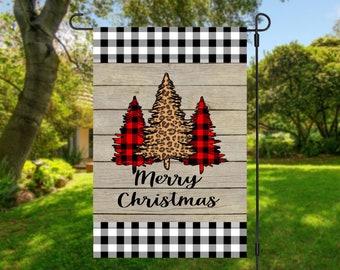 Merry Christmas Garden Flag, 12x18 Black and White Plaid Flag, Christmas Garden Flags, Plaid and Leopard, Christmas outdoor decor, yard flag