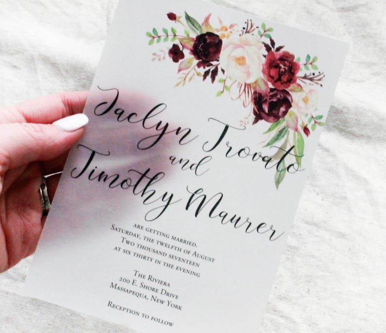 floral wedding invites with rsvp watercolor stationary Burgundy Wedding Invitations marsala wedding Vellum Invitation unique invitation