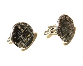 Black motherboard cufflinks goth gothic silver plated computer circuitry cyberpunk technology upcycled recycled circuit board