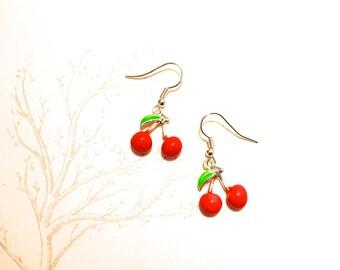 Handmade cherry earrings SURGICAL STEEL loop enamel cherries fruit geek Spring Rockabilly