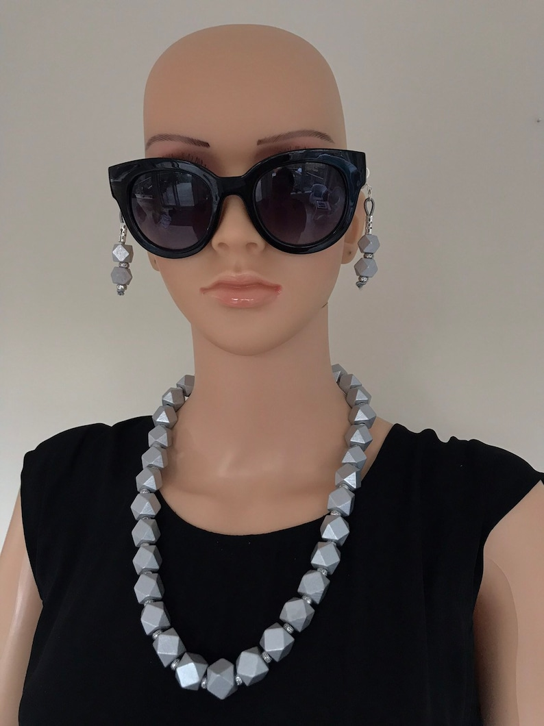 Silver wood bead necklace earring set