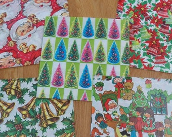 Vintage CHRISTMAS Gift Wrap/Wrapping Paper Sheets Lot~Bells/Tree/Santa/Children