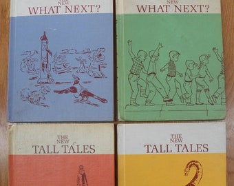 Lot x 4 Scott/Foresman Readers Vintage 1960's~What Next 1 and 2/Tall Tales 1 and 2