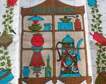 Vintage NEW Parisian Prints Linen Tea Towel~ANTIQUES~Turquoise Blue/Red Kitchen