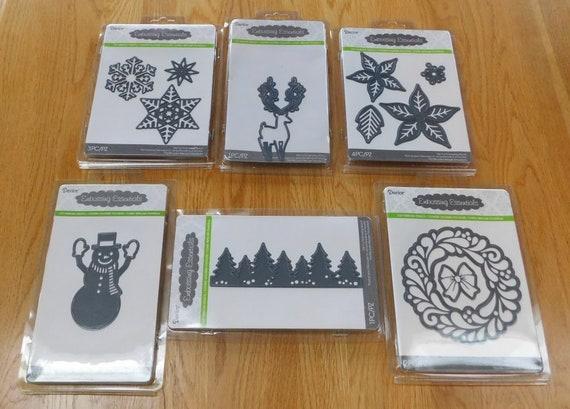 Darice Embossing Essentials DIE CUT LOT~5 Christmas~PoinsettiaReindeerSnowman