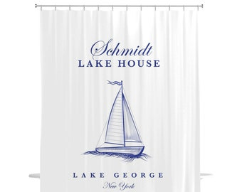 Lake House Shower Curtain - White Shower Curtain - Boat Shower Curtain