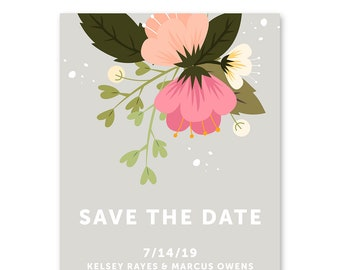 Save the Date Cards, Save the Dates, Floral 5x7 Cards