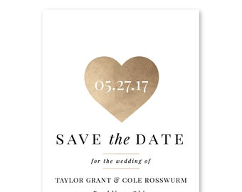 Save the Date Cards, Save the Dates, Gold, Simple, Wedding 5x7 Cards