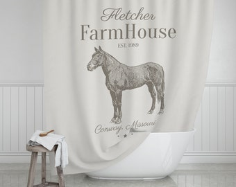 Horse Farmhouse Shower Curtain Custom Bathroom