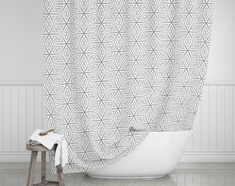 Farmhouse Bathroom Decor Gray And White Shower Curtain Modern Tile