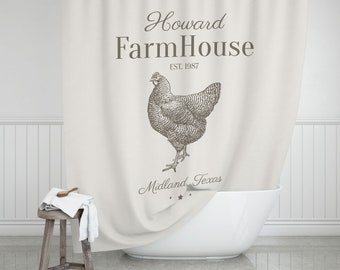 Hen Farmhouse Shower Curtain Bathroom Decor Bath