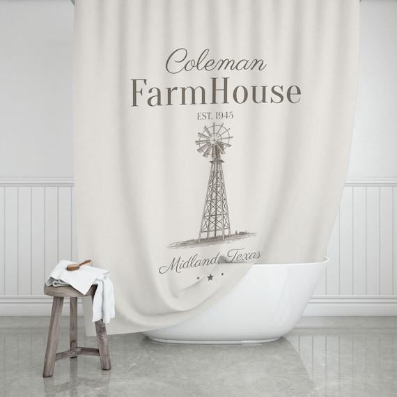 Vintage Windmill Farmhouse Shower Curtain Bathroom