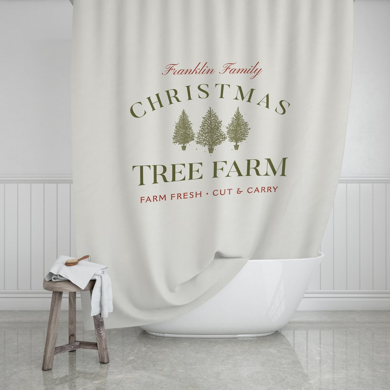 Personalized Christmas Shower Curtain Tree Farm