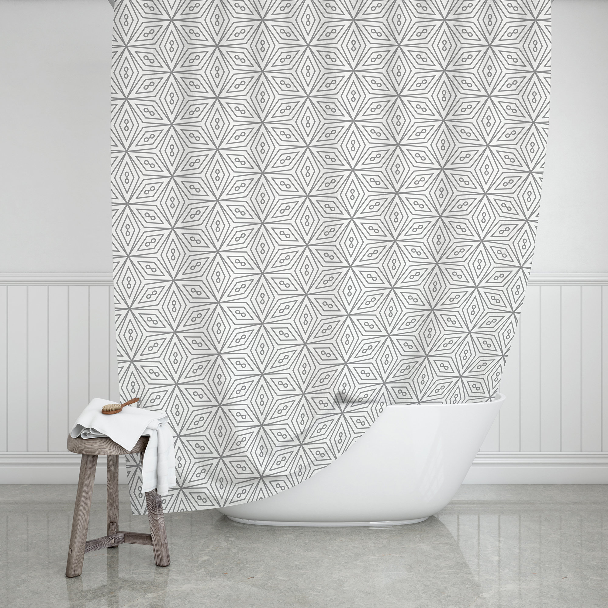 Farmhouse Bathroom Decor Gray And White Shower Curtain