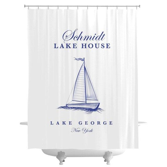 Lake House Shower Curtain White Boat