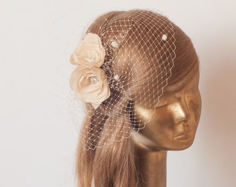Birdcage Veil. Champagne veil .Romantic wedding Headpiece with beautiful ,delicate Flowers.BRIDAL Fascinator