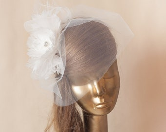 Ivory Birdcage Veil Tulle with Feather Flower. Bridal Fascinator