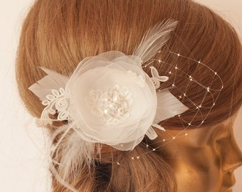 IVORY Flower with Veil Bridal hair piece, Ivory Wedding hair flower, Bridal headpiece, Ivory flower headpiece, lace flower
