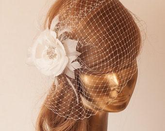 Ivory  Birdcage Veil with Flower, Vintage Style Bridal FASCINATOR