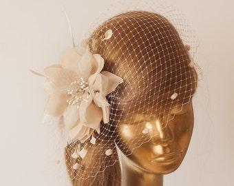 Champagne Birdcage Veil with Champagne-Cream Flower, Vintage Style Bridal FASCINATOR