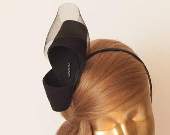Unique Modern Black FELT FASCINATOR. BRIDAL Fascinator . Black Headpiece, Black Party Bow Fascinator for Women