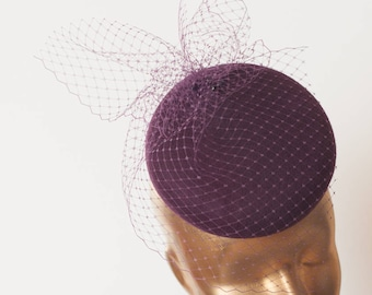 Plum Modern Felt FASCINATOR. Burgundy Fascinator for Women.Pillbox Hat