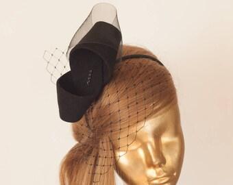 Unique Modern Black FELT FASCINATOR with Veil . BRIDAL Fascinator . Black Headpiece, Black Party Bow Fascinator for Women