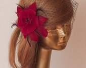 Red Birdcage Veil with Flower and Unique Beads and Swarovski Pearls.Red Fascinator with Black Veil