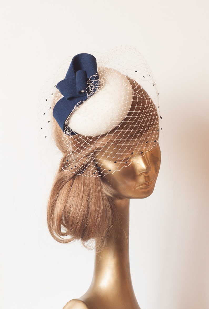 e369cc3961022 Unique Modern Cream FELT FASCINATOR with Veil and Navy decor