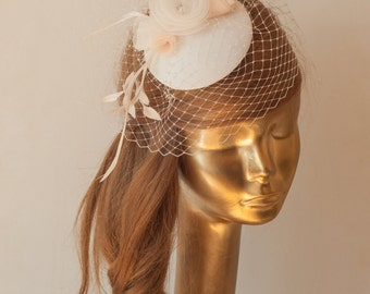 Bridal Ivory FASCINATOR with Birdcage Veil and Flowers. Wedding Mini Hat with Veil