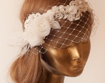 Birdcage Veil.Ivory Lace Vintage Style Birdcage Veil. Bridal FASCINATOR.