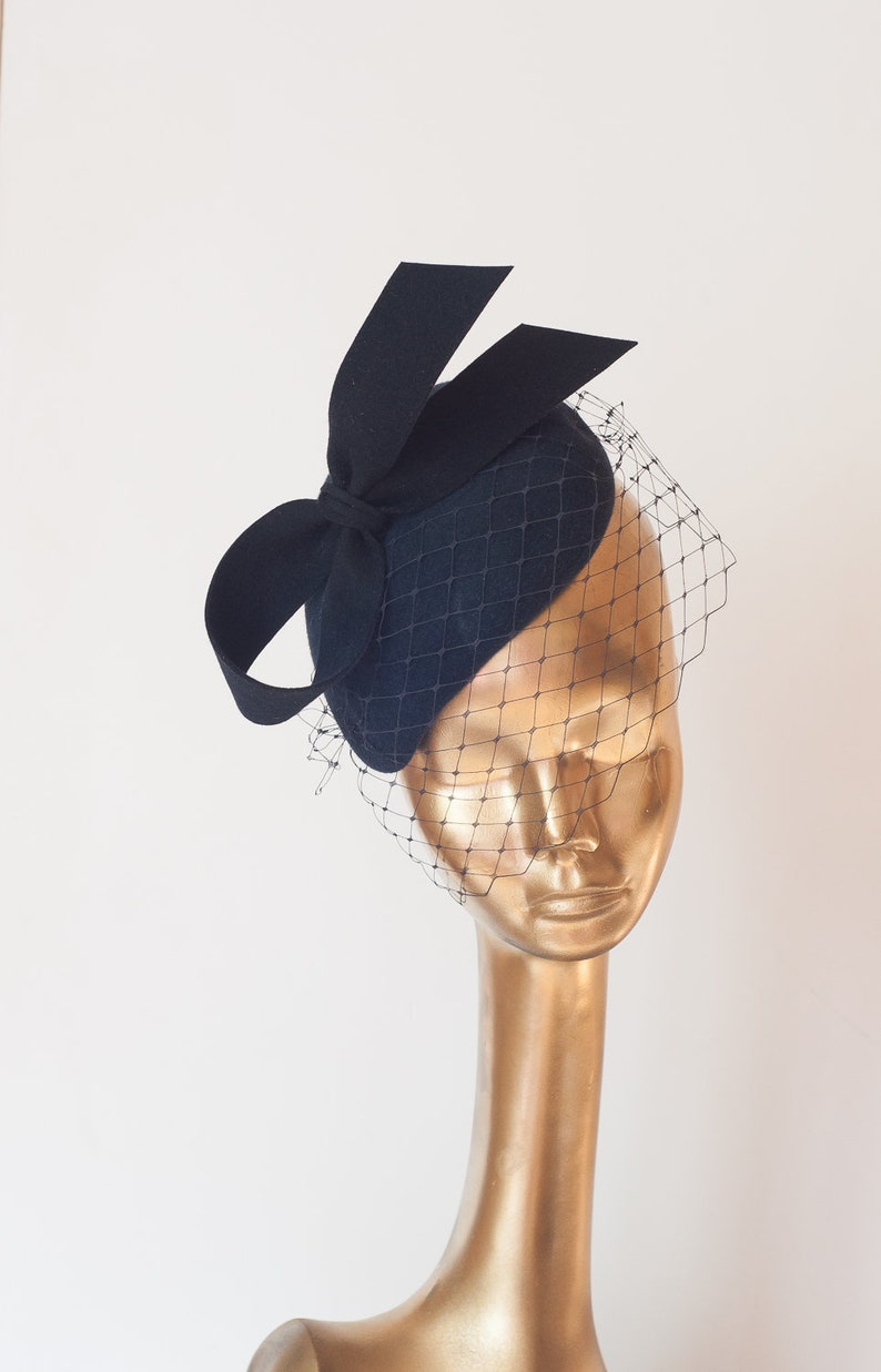 8f169881e3eac Unique Modern Dark Navy Blue FELT FASCINATOR with Veil. BRIDAL
