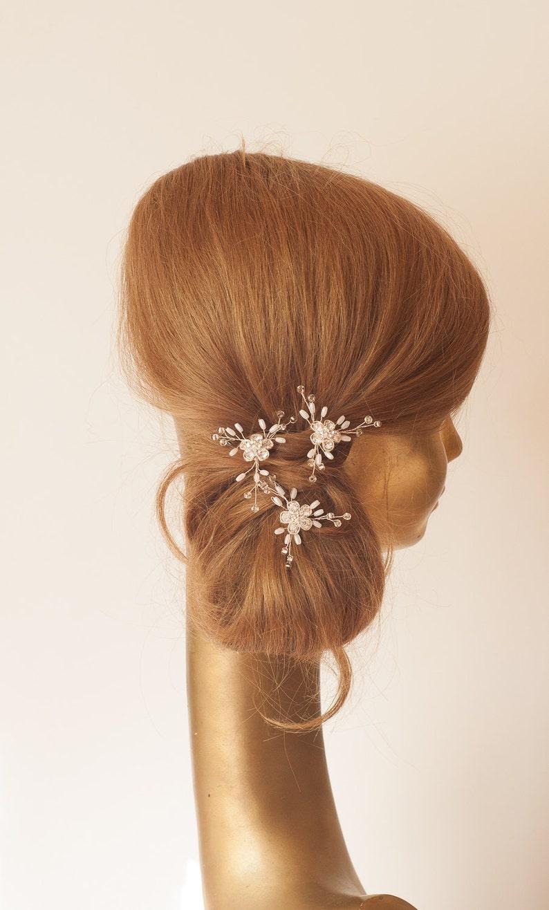 Wedding Hair Pins Flower Bobbie Pin Hair Jewelry Crystal /& Pearl Bridal Hair Pin