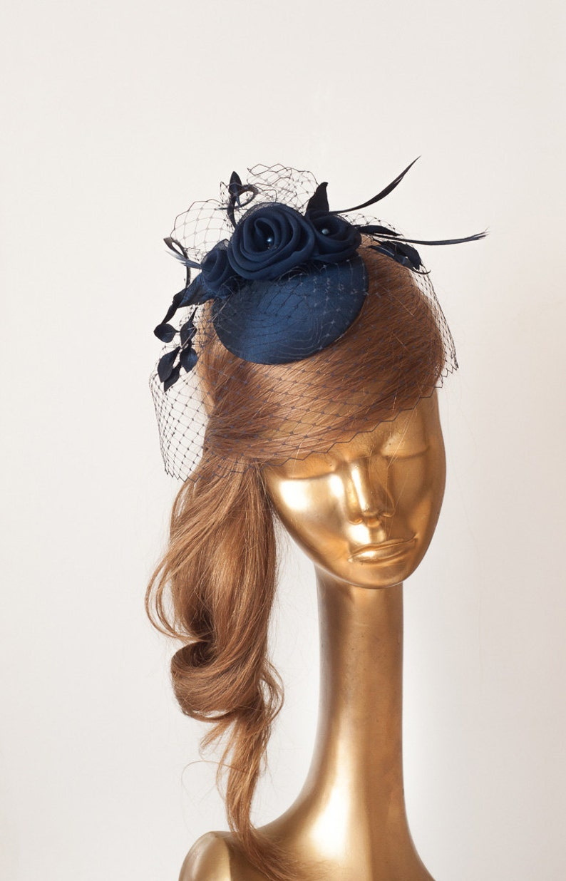 Wedding Mini Hat with Veil Bridal Navy Blue FASCINATOR with Birdcage Veil and Flowers