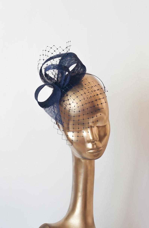 Navy Blue Bow with Veil sinamay fascinator bridal headpiece Navy Blue Wedding Fascinator