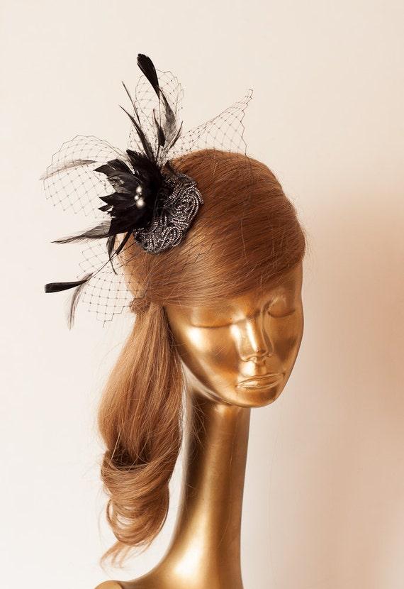 Handmade Mini Veil Floral Beads Feathers Headband Fascinator Cocktail Hat Black