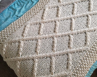 Lattice Cable Knit Blanket- Made To Order