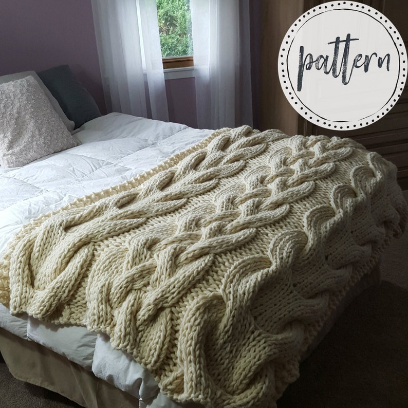 Chunky Oversized Cable Knit Blanket PATTERN image 0