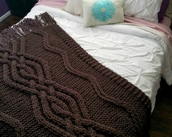 NEW!  Mei Cable Knit Blanket - Made-To-Order