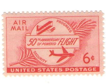 Unused 1953 First Plane and Modern Plane - Vintage Airmail Postage Stamps Number C47