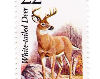 Unused 1987 White Tailed Deer - North American Wildlife - Vintage Postage Stamps Number 2317