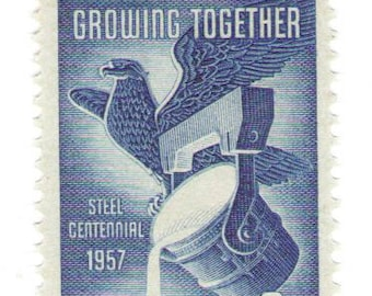 Unused 1957 America and Steel, Growing Together - Vintage Postage Stamps Number 1090