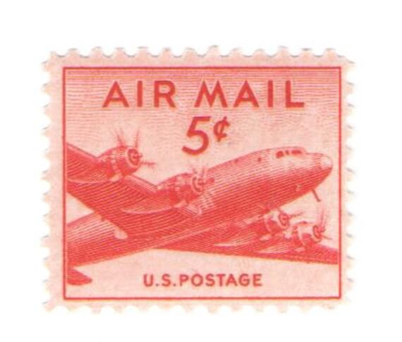 Unused 1947 DC 4 Skymaster Plane Vintage Airmail Postage