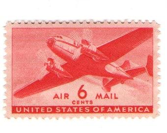 Unused 1941 Red Twin-Motor Transport Plane - Vintage Airmail Postage Stamps Number C25