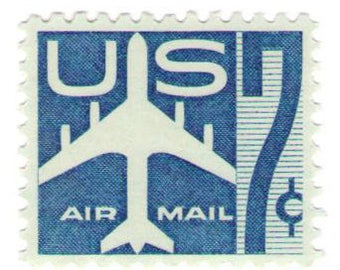 Unused 1958 Blue Silhouette of Jet Airliner - Vintage Airmail Postage Stamps Number C51