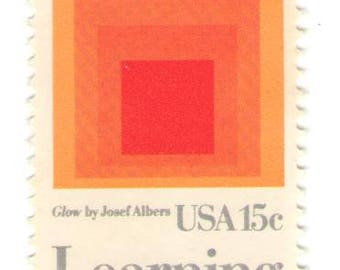 Unused 1980 - Learning Never Ends - Homage to the Square by Josef Albers - Vintage Postage Stamps Number 1833
