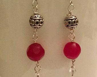Pink Jade drop earrings with Swarovski crystal